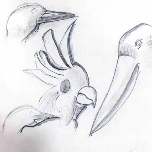 Наброски карандашом на тему птицы